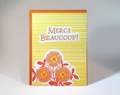 French Letterpressed Thank You Card -- Yellow and Orange