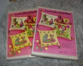"""2--Vintage--UNUSED--WonderArt Stitchery--Crewel Embroidery--Kits--14"""" Pillows--Clown And Train--For Children--Sealed"""