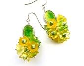 Primroses -- Yellow, Green, Flowery Cluster Earrings