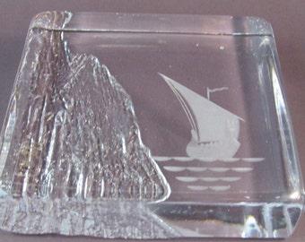 Vintage Bengt Edenfalk Skruf Glass Paperweight Signed Swedish Art Glass Viking Ship Paperweight