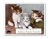 Personalized Bookplates - Three Little Kittens - Ex Libris Book Labels - Gift for Cat Lover