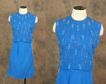 vintage 50s Suit - 1950s Blue Wool Beaded Skirt Suit Blouse and Skirt Set Sz XS