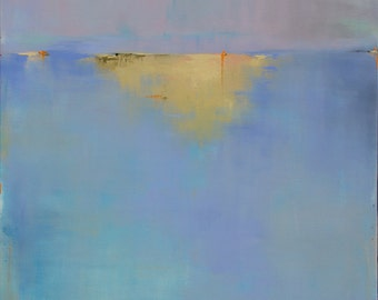 Abstract Landscape Painting Huge Painting Contemporary Painting 48x48 - West Elm Featured Artist Blue Ocean Beach Coastal Decor Minimalist