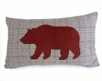 Brown Bear Pillow Cover, Appliqued Animal Pillows, Appliqued Bear, Brown Cream Plaid Sofa Pillow, Unique Gift Idea, 12x20
