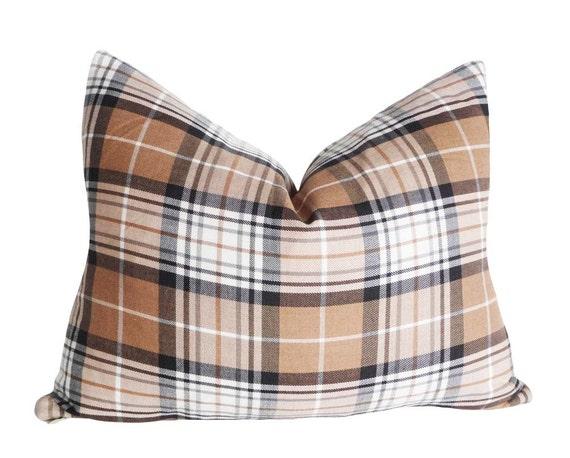 Plaid Pillow Covers, 14x18 Oblong, Tan Black Cream White, Plaid Tartan, Cushion Cover, Rustic, Country Lodge, Mens Home Decor
