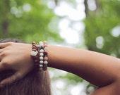 Peach Moonstone Diamond Bracelet, Beadwork Bracelet, Sterling Silver, White Creamy Gemstone, Autumn Peach Coral, Boho Jewelry, Pave Bracelet