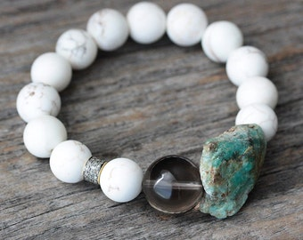 Diamond Smoky Quartz Kyanite Statement Bracelet / Natural Gemstone Beaded Bracelet White Green Blue Brown Chunky, Bohemian Bohochic Stone