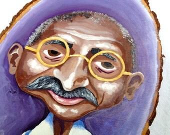Mahatma Gandhi Caricature Portrait Painting - Acrylic On Wooden Plaque