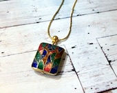 Abstract Mod Cloisonne Necklace Gold Square Pendant