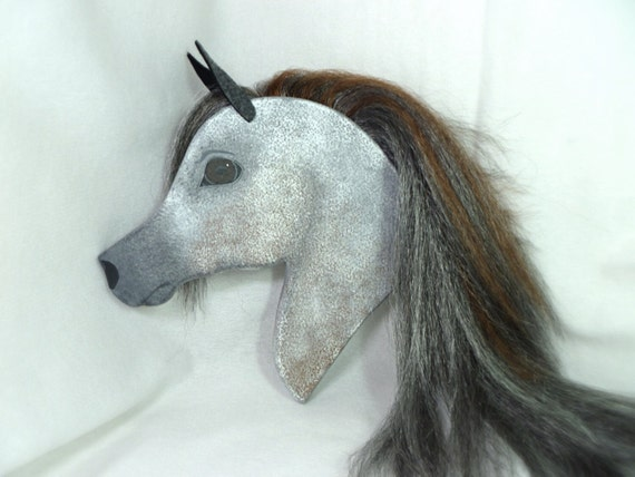 Arabian Stick Horse Gray/Red Roan with Black/Silver/Red Mane