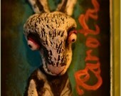 reserved for Megan - Rabbit with Carrot / Carota OOAK mixed media artwork sculpture painting - Be vegetarian serie