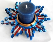 Patriotic Colored Recycled Aluminum Can Candleholder - CLEARANCE