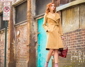 Womens winter coat, cashmere and wool coat, tailored fit, in Camel wool with buckle