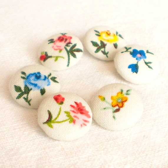 Fabric Buttons - My Little Garden - 6 Small Red, Pink, Blue, Green and Yellow Flowers on White Fabric Covered Buttons