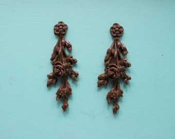 Flower Drop Spray Rose Furniture Applique, Shabby Chic Brown Distressable Onlay