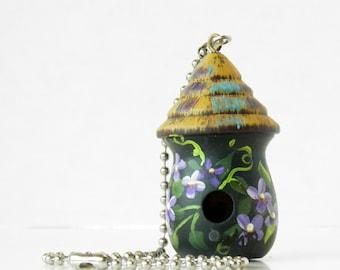 Dark Green Birdhouse Light / Fan Pull with Purple Flowers