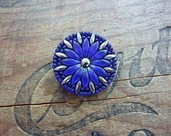 Button Czech Glass Decorative Button Purple
