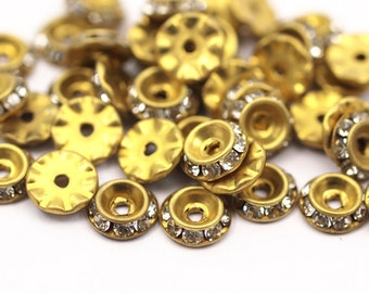 10 Rhinestone Rondelle Button Spacer Beads Or Bead Caps 8 Mm - 0801 Y278