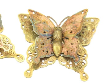 Raw Brass Filigree Butterfly Pendant (30x33 Mm) D221