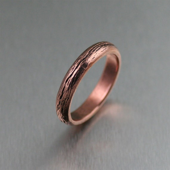 4mm Copper Bark Ring 7th Wedding Anniversary Gift