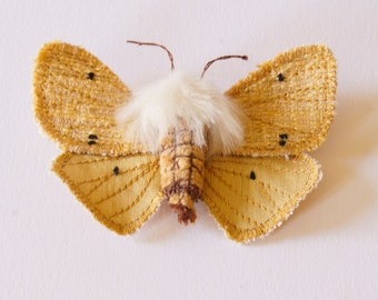 Tiger Moth Buff Ermine Statement Fiber Brooch Sculpture Natural History Gift Nature Lover Woodland  Entomology Gift Textile Moth Jewelry