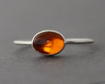 Ring / Amber Sterling Silver / Size 9.25 US/CANADA / Stacking Ring
