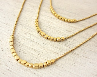 Gold Rush Necklace, petite nugget beads, minimalist jewelry