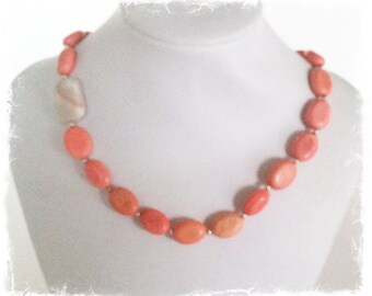 Salmon Turqoise and Red Lined Marble Necklace