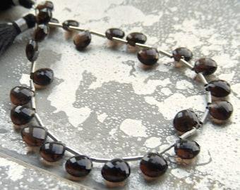 Micro Faceted Smoky Quartz Briolette Beads