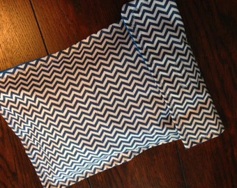 Diaper clutch, diaper and wipes case, denim blue chevron