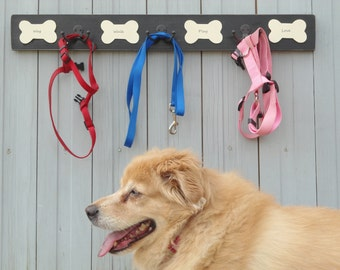 personalized pet coat leash hooks purchase by 12 15 hooks personalized leash holder birthday dog lovers custom pups' names BeachHouseDreams