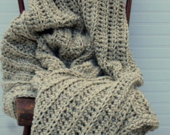Oatmeal Wool Throw Afghan Home Decor Luxurious Oversize Texture