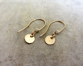 Tiny round disc gold earrings, 14K gold filled earrings
