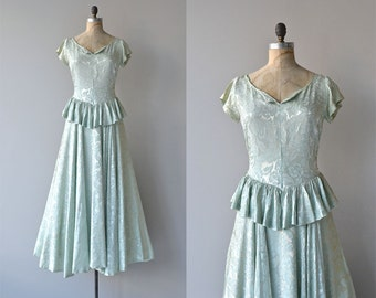 Long Goodbye dress | vintage 1940s dress • brocade 40s max dress