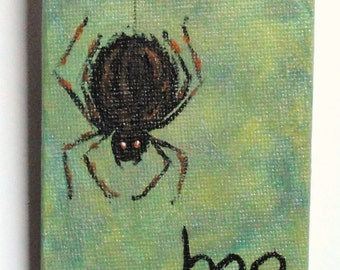 Halloween painting- hand painted art- black furry spider on green background, Halloween decor,  arachnid, creepy,  READY TO SHIP