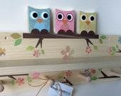 Owl Friends Shelf and Peg Rack Combination, Blue, Pink, Yellow, Owl Nursery Decor, Owl Kids Decor, eco-friendly
