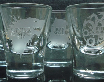 Game of Thrones set of 4 etched shot glasses