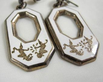 Vintage Siam silver earrings white enamel dangle for pierced ears dancing goddess