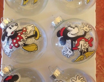 Minnie Mouse Glass Ornaments