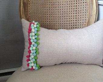 NEW Pom Pom Pillow on Oatmeal/Natural Linen