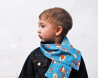 Winter Kids Organic Scarf - Superhero Knit Tube Scarf - Eco Friendly Unisex Baby Toddler Fashion Accessory in Blue and Red