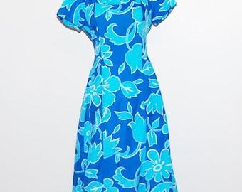 Vintage Dress Ocean  Blue Hawaiian Print with Back Sash