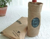 Father's Day Burlap Liquor Bottle Bag with Re-Useable Chalkboard labels,  suggested by FOOD & WINE magazine