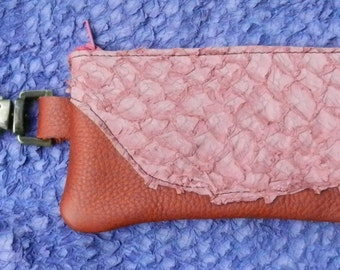 "Handmade Leather  Zipper Wallet / Clip On smart phone tote , FISH SKIN on top shelf italian cowhide  - Swivel Snap.  3.5"" x 7"""