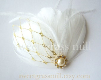 "Fascinator Great Gatsby White Feather Ostrich Gold Veil Netting Bridal Clip ""Petit Doree"""