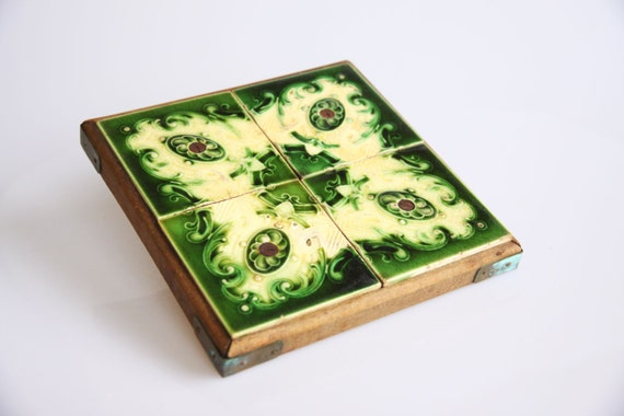 Green Art Nouveau ceramic tile trivet, Belgian antique Art nouveau home decor, vintage flower ceramic tiles, antique floral plant stand