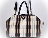 Reserved for Amy - The Carpet Bag - Neutral Chenille Stripe - One of a Kind