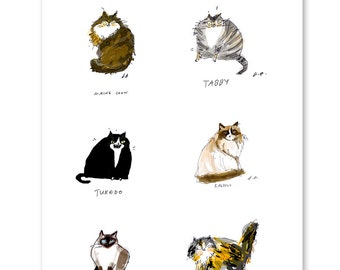 Cat Breeds Fine Art Print - Cat Poster- Cat Gift - Cat Artwork - Gifts for Pet Lovers