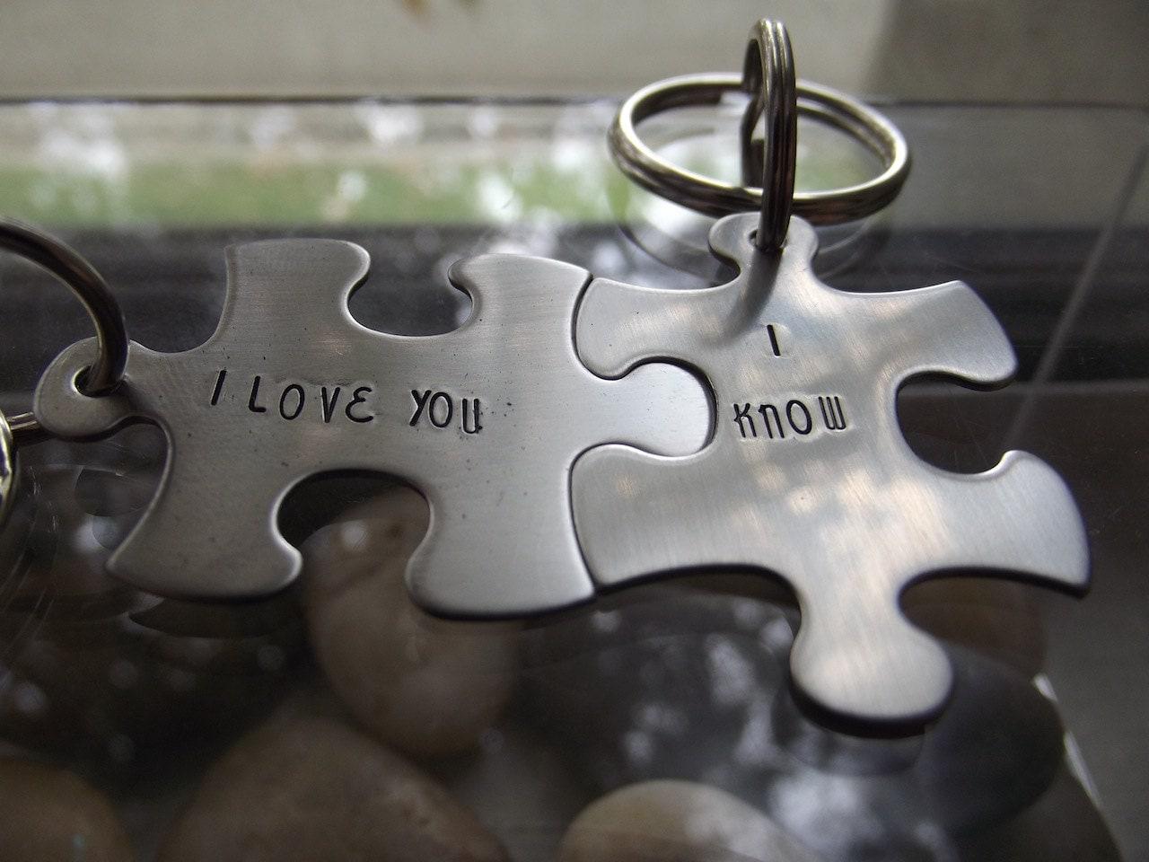 I Love You I Know Set Two Piece Puzzle Keychain Set One