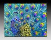 Peacock Ceramic Tile Wall Art